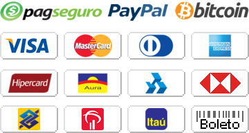 Aceitamos pagamentos através do PagSeguro e do PayPal com Visa, MasterCard, Diners, American Express, Hipercard, Aura, Elo, PLENOCard, Bradesco, Itaú, Banco do Brasil, Banrisul, Banco HSBC, Oi Paggo e boleto bancário.